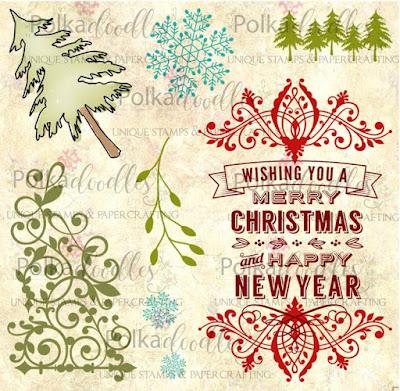Polkadoodles Christmas Sentiment Flourish clear stamp set