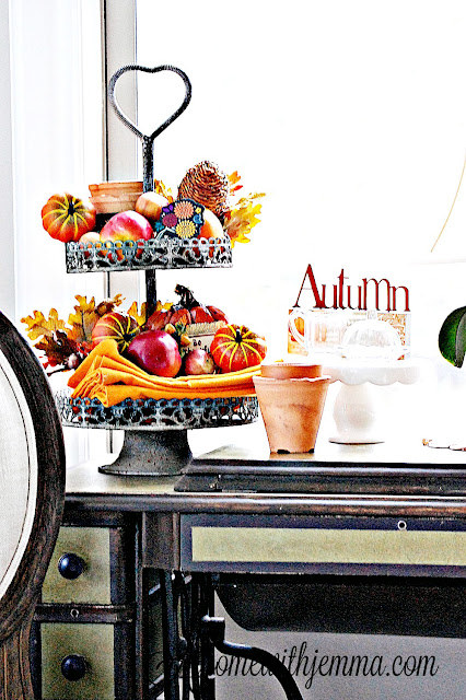 fall-decorating-tiered tray-pumpkin-how to style a tiered tray-athomewithjemma