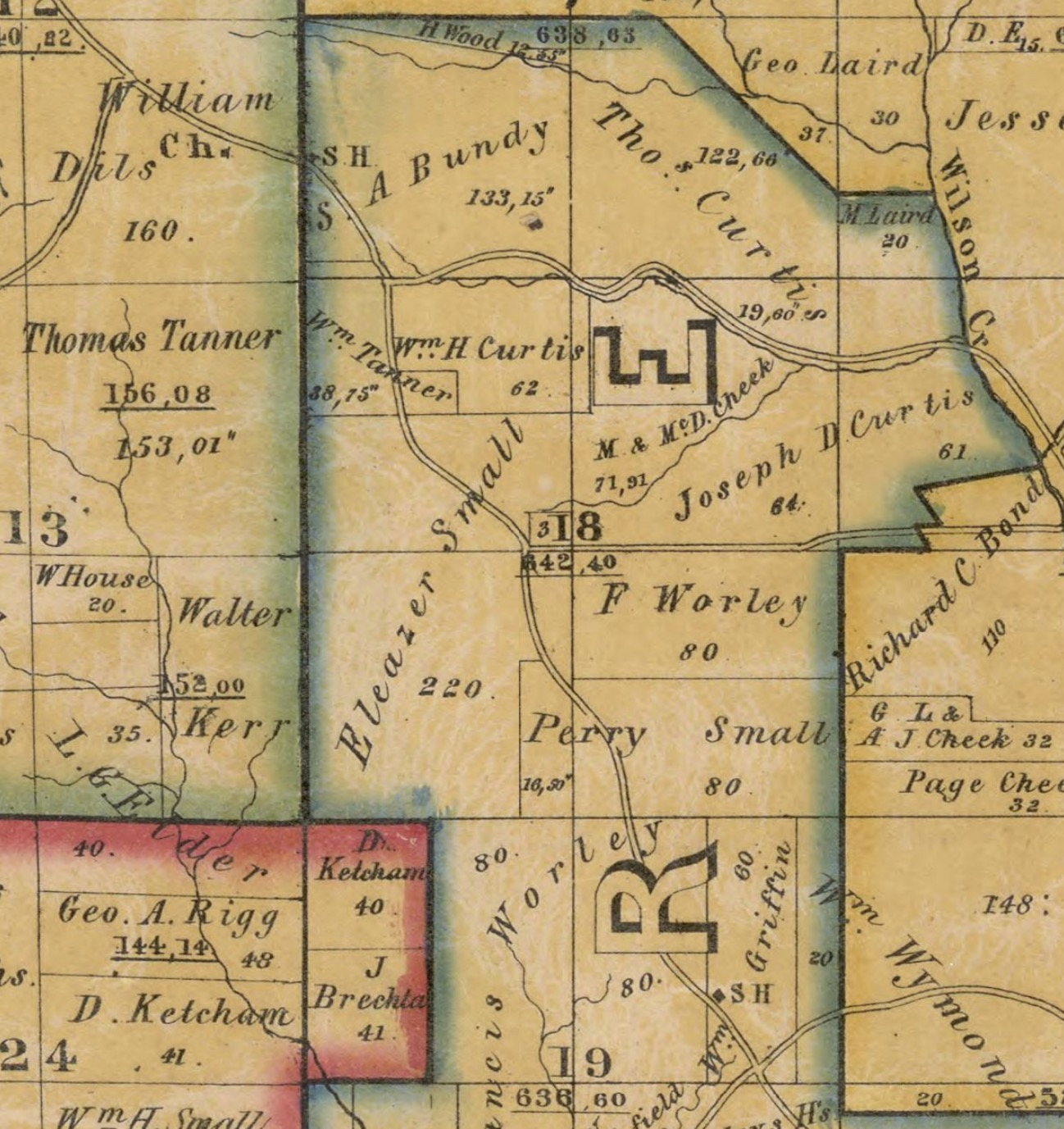 Indiana marshall county tippecanoe - Close Up Of Portion Of The Dearborn Co Indiana Plat Map 1860 Library Of Congress