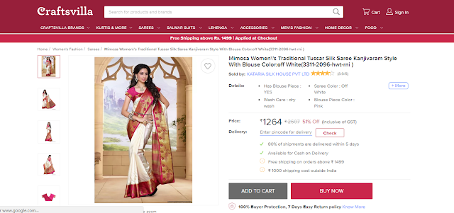 Find Most Elegant Traditional Sarees at Craftsvilla.com, Kanjivaram saree
