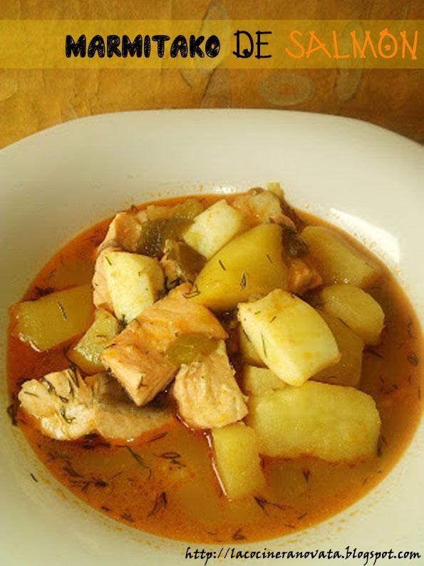 la cocinera novata Marmitako de salmon guiso receta plato vasco pescado patatas sepia patata