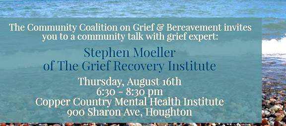 Community talk with grief expert Aug. 16