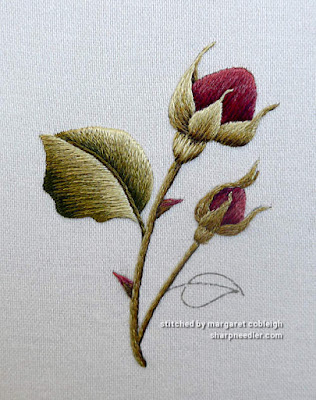 Burgundy Rosebuds (by Trish Burr): Completed second thread painted rosebud