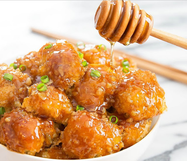 Honey Garlic Baked Cauliflower #sidedish #vegan