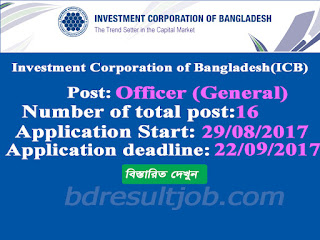 Investment Corporation of Bangladesh (ICB) Officer (General) Job Circular 2017