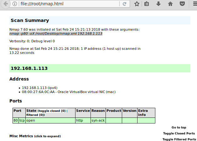 Generating Scan Reports Using Nmap (Output Scan)