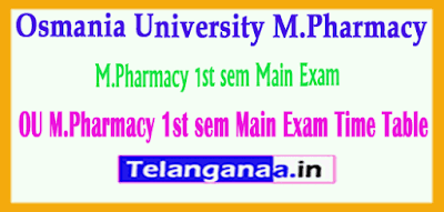 Osmania University M.Pharmacy 1st sem Main Exam Time Table