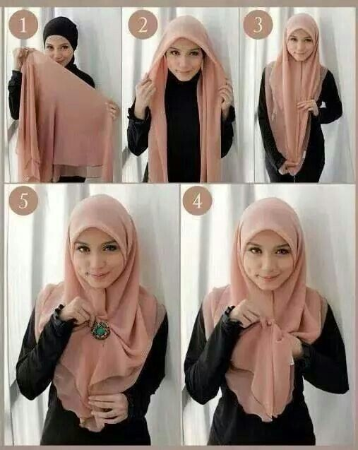 tutorial hijab segi empat simple style 3