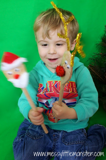 making christmas spoon puppet craft
