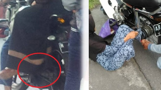 Lagi-lagi Kejadian, 2 Pengendara Tersungkur di Jalan Gara-gara Rok Wanita Terselip di Rantai