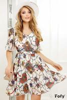 Rochie de zi Fofy din voal ecru cu imprimeu