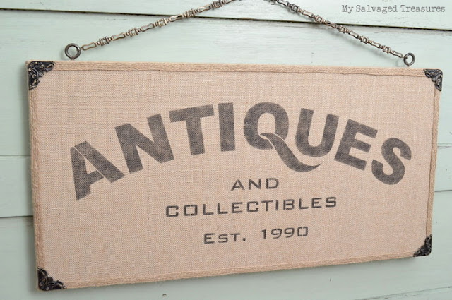 Custom stenciled burlap canvas sign from MySalvagedTreasures.com