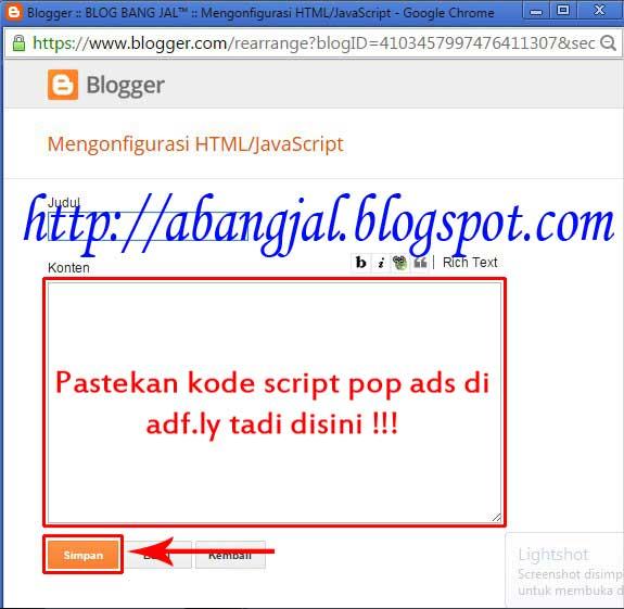 Cara Memasang Iklan Pop-Up dari Adf.ly - BLOG BANG JAL™