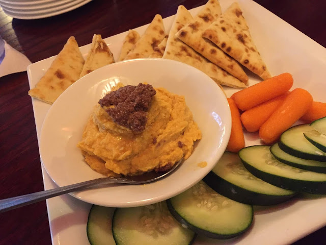Healthy hummus, olive tapenade and veggie platter at Tap House Grill