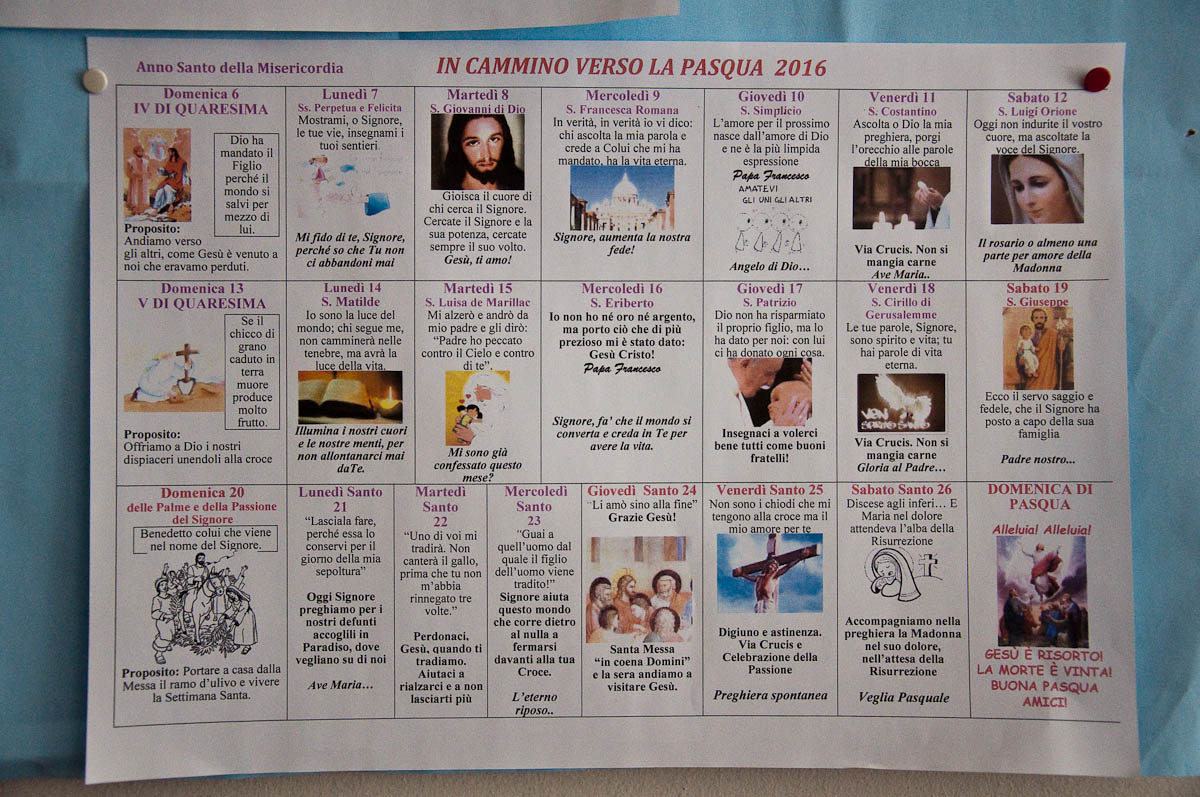 Catholic Church Easter calendar, Veneto, Italy