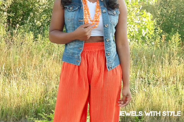 how to wear wide leg pants, how to wear palazo pants, wide leg pants trend, wide leg pants outfit ideas, wide leg pants outfit, jewels with style, black fashion blogger, columbus ohio fashion blogger, columbus ohio style blogger, columbus ohio personal stylist, columbus ohio stylist, orange pants outfit, wide leg orange pants, denim vest outfit, denim vest outfit ideas, how to wear a crop top, how to style a crop top with pants