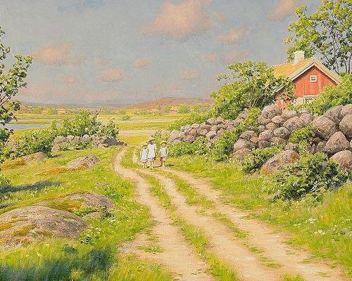 Summer Landscape with Wandering Children