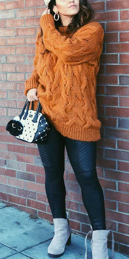 Cable knit sweater, Faux leather leggings | From knit sweaters to knit sweater dress, knit cardigan dress to knitting cardigan. There are so much to try in knitwear fashion. Here are 25 cute knit outfits ideas to wear. knitting clothes and knitted outfits via higiggle.com #sweaters #knit #outfits #style