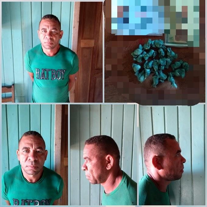 HOMEM PRESO PELA PM SUSPEITO DE TRÁFICO DE DROGAS NO DISTRITO DE CREPORIZÃO.