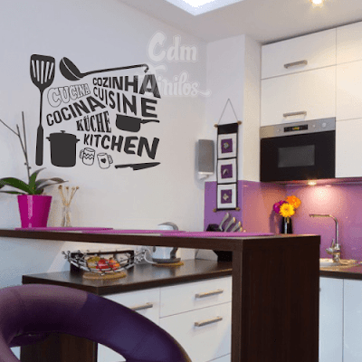 vinilo decorativo cocina idiomas, cucina, cuisine, utendilios de cocina