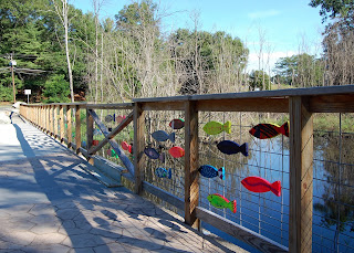 community painted fish at the Sculpture Park