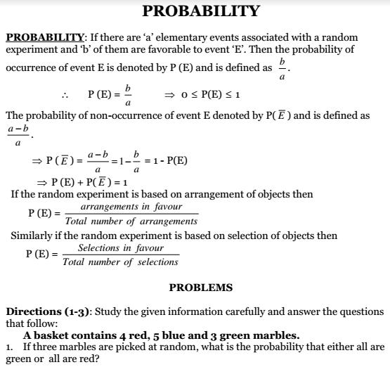 Probability Tips Notes Problems Questions Answers Solutions
