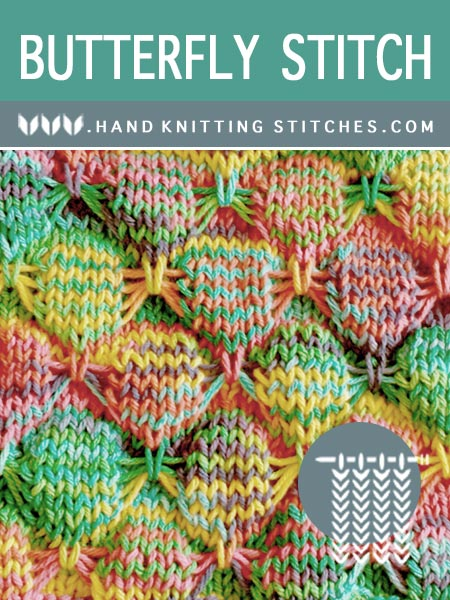 Hand Knitting Stitches - Butterfly Slip Stitch Pattern #knittingpatterns #knittingstitches