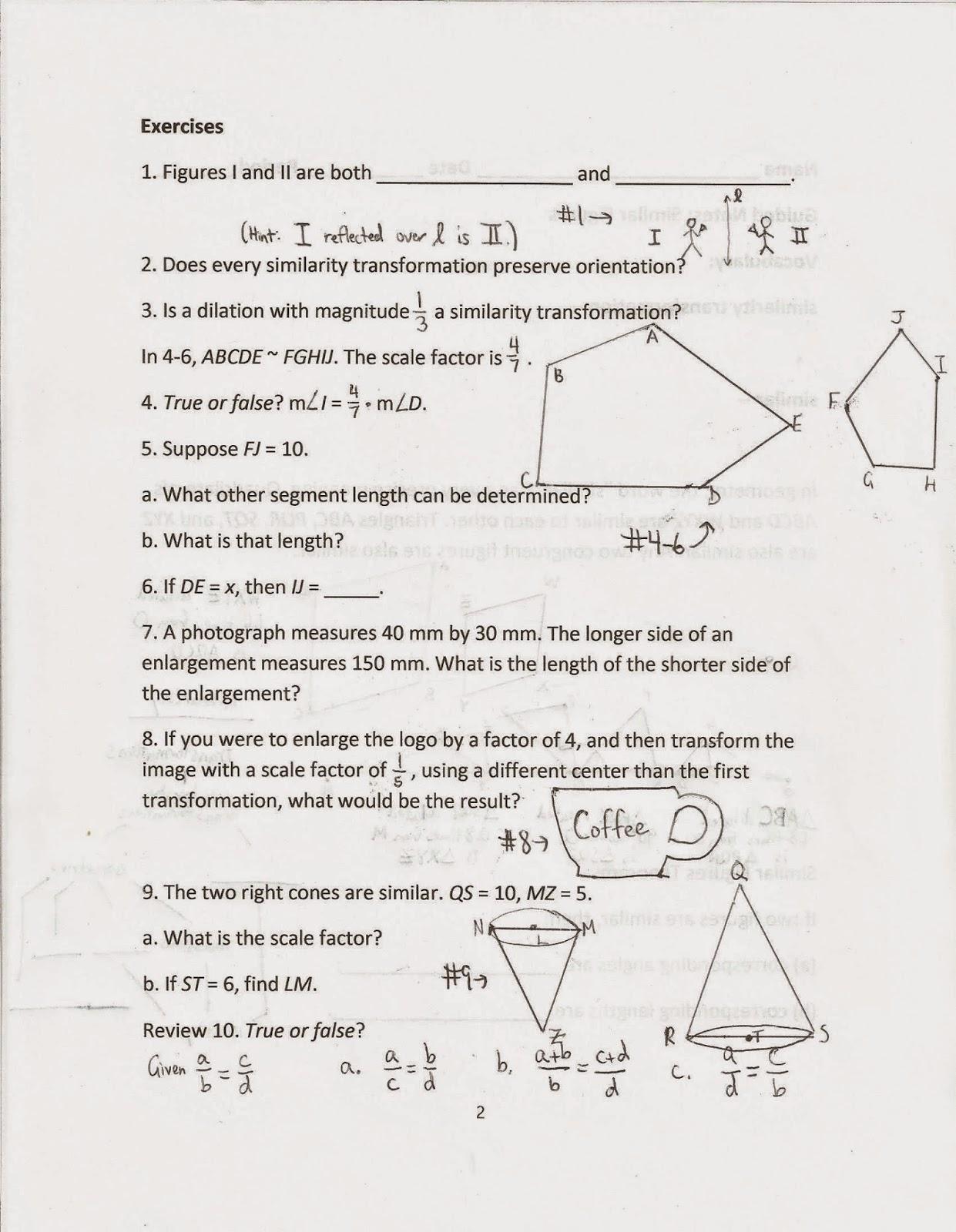 Geometry Common Core Style Lesson 12 5 Similar Figures