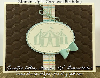 This card uses Stampin' Up!'s Carousel Birthday stamp set.  It also uses: Cupcakes & Carousels Designer Paper, Cupcakes & Carousels Embellishment Kit, Hexagon Dynamic Embossing Folder, Layering Ovals Framelits, and Peals!!  #staminup #stamptherapist www.stampwithjennifer.blogspot.com