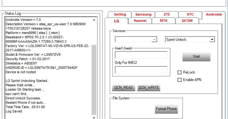 Direct Unlock LG V20 Sprint LS997 Android 7 0 OK
