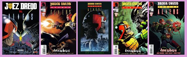 portadas del cómic ciberpunk Juez Dredd vs Aliens