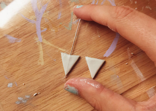air-dry clay triangle headpin