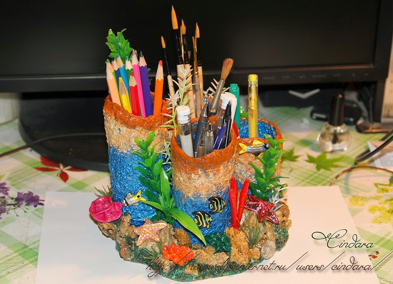 """Stand for pencils and pens """"coral reef"""""""
