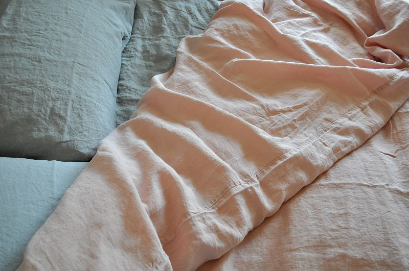 dusty pink and grey natural Belgian linen from Loaf