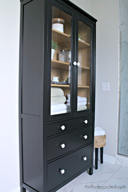 DIY two-tone black wood cabinet from IKEA
