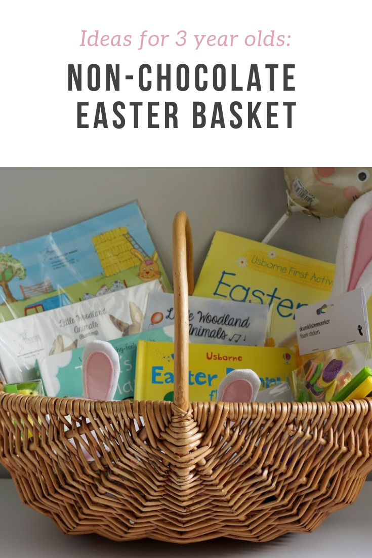 Ideas for non-chocolate Easter gifts, perfect for three year old kids - and toddlers and other young children. Book recommendations, ideas for craft items, decorations and other fun stuff!