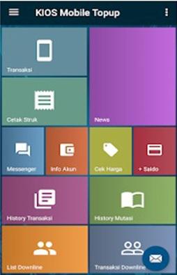 Tampilan Utama Aplikasi Android Kios Mobile Topup