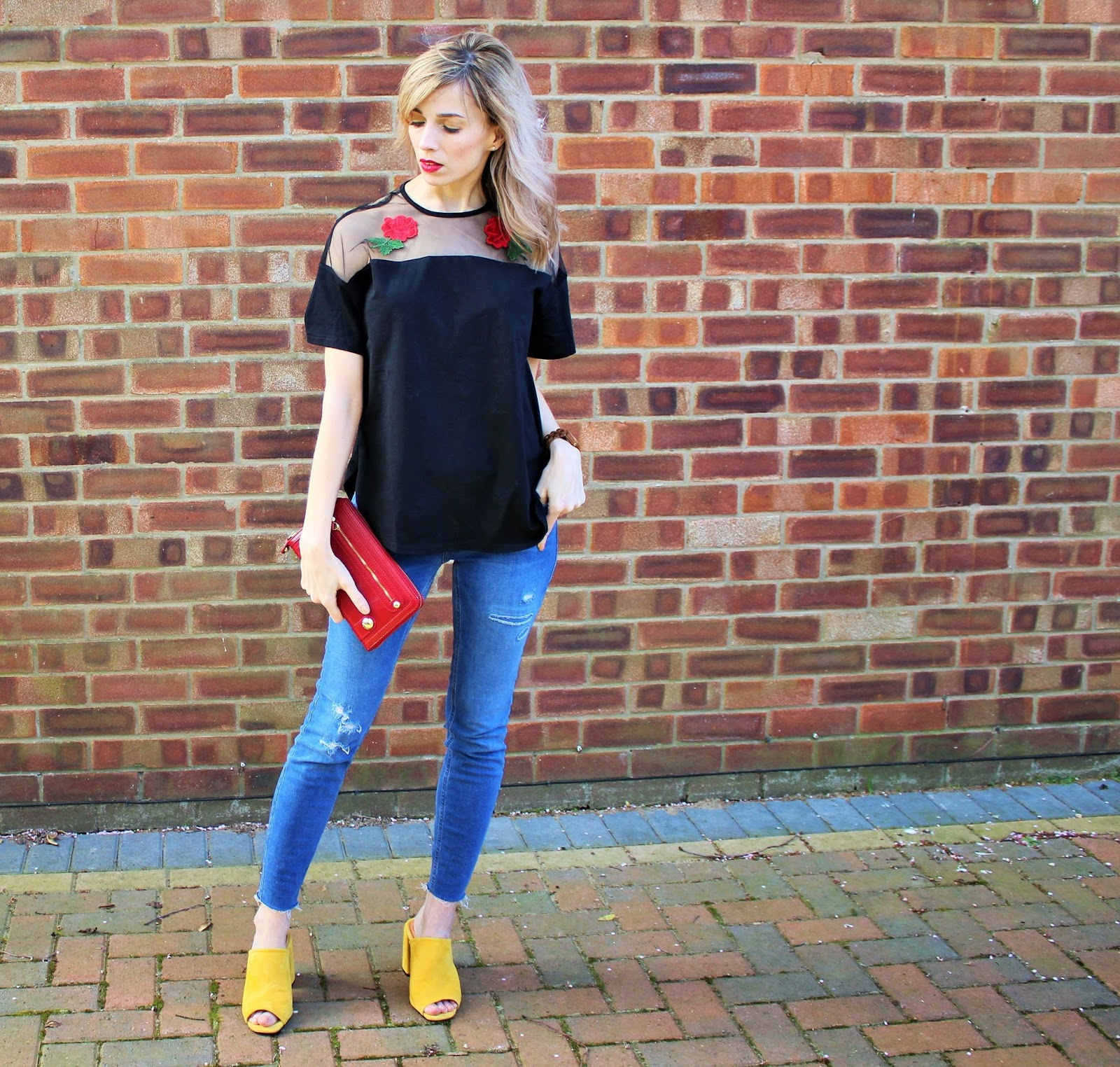 Colourful OOTD featuring embroidery, raw hem jeans and yellow mules - 1