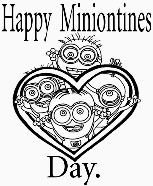 Pages For Teenage Girls Minions Character In Heart Shape Cool Clipart  Valentines Day Colouring Free Happy