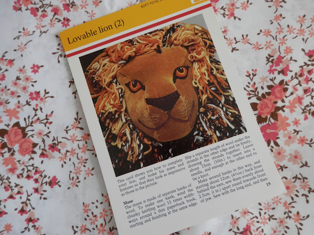 Retro Seventies Crafts,  Animals, Dolls and Creatures.  Retro lion.  secondhandsusie.blogspot.co.uk