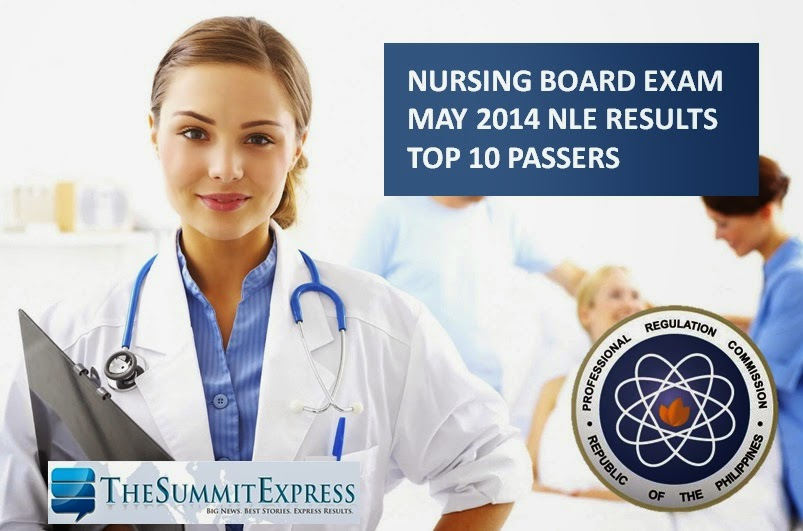 Top 10 Passers May 2014 NLE - nursing board exam released