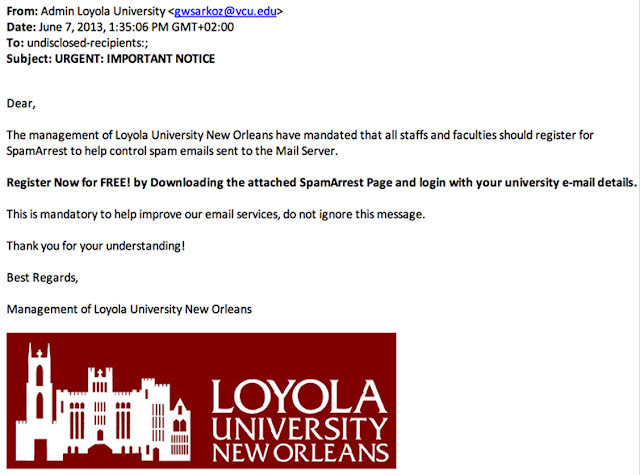 Figure 3. Screenshot of a phishing email targeting university employees.