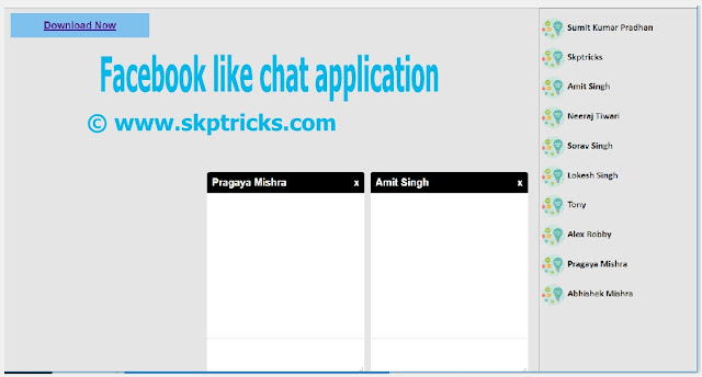 Facebook Style Chat Application with jQuery and PHP, Facebook Style Chat Box Popup using jQuery and CSS, Chat Application like Facebook, Facebook Like Chat Slider Layout Design and Facebook Style Chat Box Popup Layout Design Using JQUERY and CSS