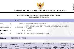 Pengumuman Hasil SKD Lulus SKB CPNS 2018 Pemkot Sukabumi