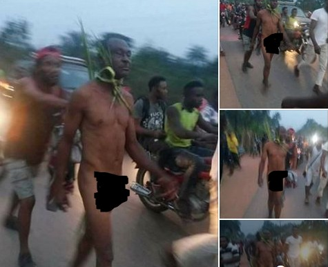 Man Stripped Naked For killing his village members with Charm in Imo