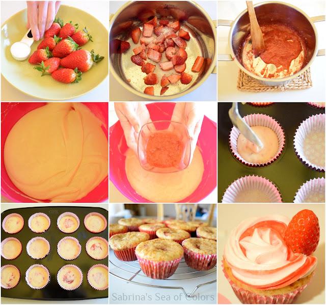 Cómo hacer cupcakes de fresas con crema