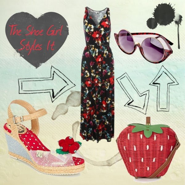 Polyvore outfit set for Miss L Fire shoes with floral maxi dress and strawberry handbag