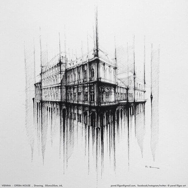 02-Opera-House-Vienna-Pavel-Filgas-Urban-Drawings-Architecture-on-our-Streets-www-designstack-co