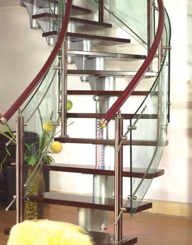 Modern Staircase With Glass And Wood