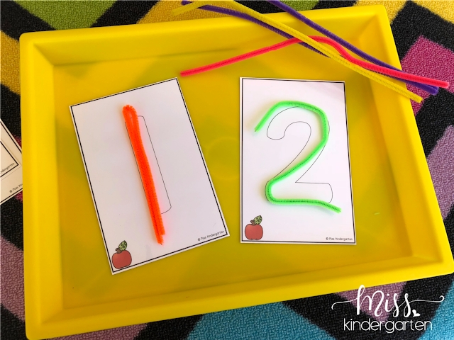 Using pipe cleaners to practice number formation